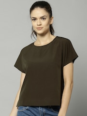 French Connection Women Olive Solid Top