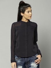 French Connection Women Navy Solid Sheer Top