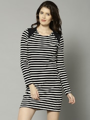 French Connection Women Black & White Striped Sheath Dress