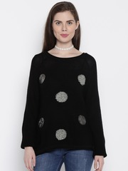 ONLY Women Black Self-Design Sweater