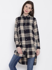 ONLY Women Black & Beige Checked Casual Shirt