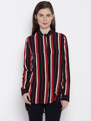 ONLY Women Black & Red Striped Casual Shirt
