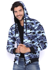 Campus Sutra Black & Blue Camouflage Print Hooded Bomber Jacket