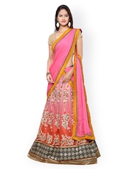 Touch Trends Pink Embroidered Net & Art Silk Semi-Stitched Lehenga Choli with Dupatta