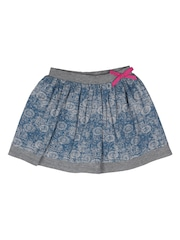 Orgaknit Girls Blue & Grey Printed Organic Cotton A-Line Skirt