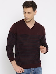 Indian Terrain Burgundy & Navy Striped Jumper Fit Sweater