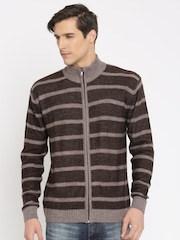 Indian Terrain Brown & Mauve Striped Cardigan