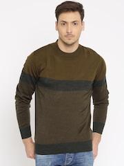 Indian Terrain Brown & Charcoal Grey Cardigan Fit Sweater