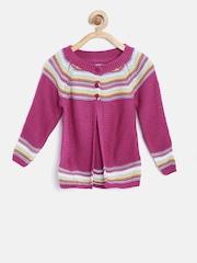 Nauti Nati Girls Pink Striped Cardigan