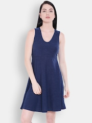 Allen Solly Woman Navy Solid Fit and Flare Dress