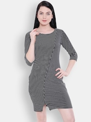 Allen Solly Woman Black & White Striped Sheath Dress