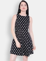 Allen Solly Woman Black & White Printed Fit and Flare Dress