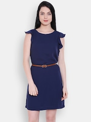 Allen Solly Woman Navy Solid A-line Dress