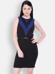 Allen Solly Woman Black Solid Bodycon Dress