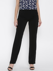 Allen Solly Woman Black Solid Flat Front Trousers