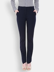 Allen Solly Woman Women Black Solid Flat-Front Trousers