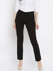 Allen Solly Woman Black Solid Regular Fit Flat-Front Formal Trousers