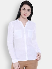 Allen Solly Woman Women White Solid Casual Shirt