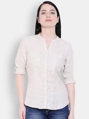 Allen Solly Woman Women Off-white Solid Formal Shirt