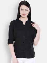 Allen Solly Woman Women Black Solid Formal Shirt