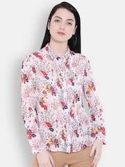 Allen Solly Woman Women Off-white & Red Printed Regular Fit Casual Shirt