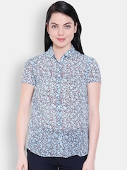 Allen Solly Woman Blue Printed Casual Shirt