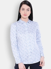 Allen Solly Woman Blue Printed Slim Fit Casual Shirt