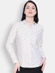 Allen Solly Woman Women White Printed Casual Shirt