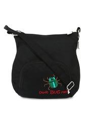 Pick Pocket Black Embroidered Sling Bag