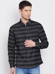 United Colors of Benetton Men Black & Grey Regular Fit Striped Casual Shirt