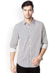Peter England Men Beige & Blue Striped Slim Fit Casual Shirt