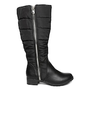 Carlton London Women Black Solid High-Top Boots