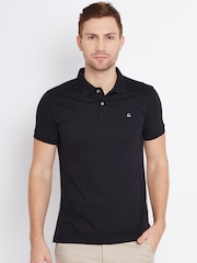 United Colors of Benetton Men Black & Grey Melange Solid Polo Collar T-Shirt