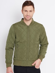 United Colors of Benetton Olive Green Quilted Bomber Jacket
