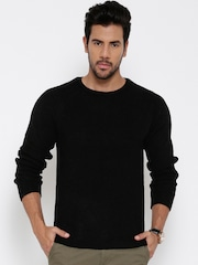 United Colors of Benetton Men Black Ribbed Sweater