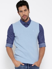 United Colors of Benetton Men Blue Sleeveless Solid Sweater