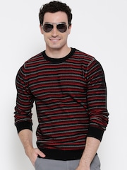 United Colors of Benetton Men Black & Red Striped Sweater
