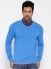 United Colors of Benetton Men Blue Solid Sweater