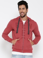 United Colors of Benetton Red Printed Hooded Sweatshirt