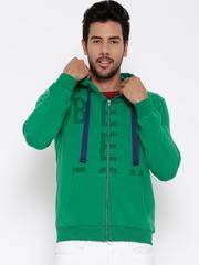United Colors of Benetton Green Printed Hooded Sweatshirt
