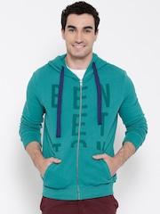 United Colors of Benetton Teal Green Printed Hooded Sweatshirt