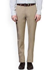 Peter England Beige Slim Fit Formal Trousers