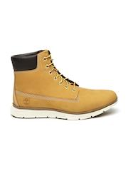 Timberland Men Tan Brown High-Top Nubuck Leather Boots