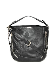 Desigual Black Embroidered Shoulder Bag with Sling Strap