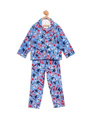 Cherry Crumble Girls Blue Printed Night Suit WS-IC-0145G
