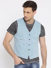 Jack & Jones Blue Denim Single-Breasted Waistcoat