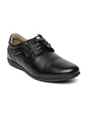 Red Chief Men Black Leather Semiformal Derby Shoes