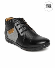 Red Chief Men Black & Grey Colourblocked Derby Casual Shoes