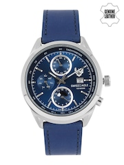 Swiss Eagle Men Blue Chronograph Watch SE-9093LS-SS-02