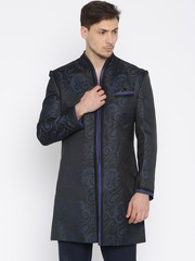 Raymone Ethnix Blue & Black Self-Design Sherwani